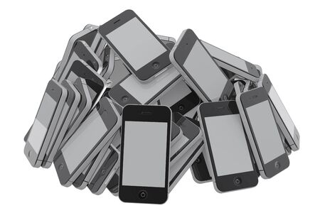 defective: Heap of many new smartphones of the same kind