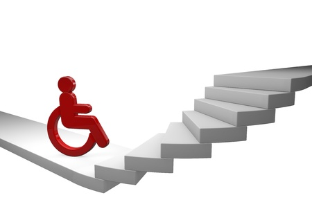 barrier free: Wheelchair driver waiting helplessly in front of a staircase Stock Photo