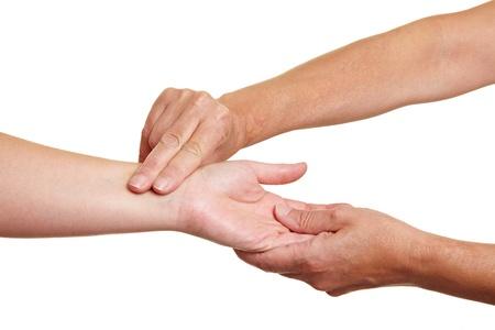 tętno: Hands pomiaru preasure krwi z palców na nadgarstku