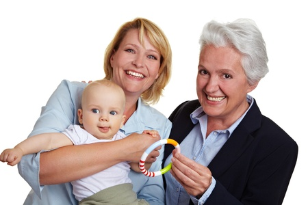 Family with baby and mother and grandmother photo