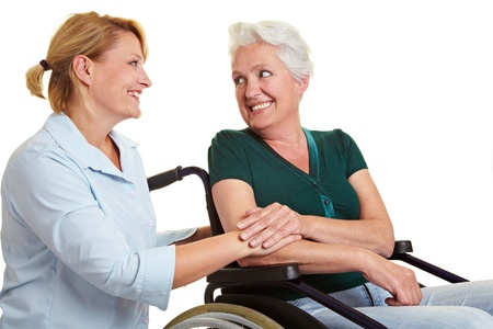 disabled person: Eldercare for disabled senior woman in wheelchair
