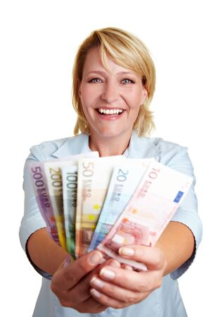 Happy business woman with fan of Euro mony bills Stock Photo - 10582305