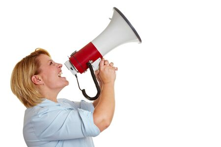 inform: Business woman screaming loudly in a megaphone