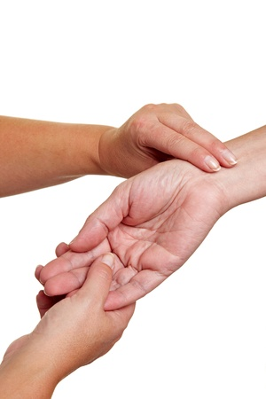 preasure: Hands measuring blood preasure with fingers at wrist