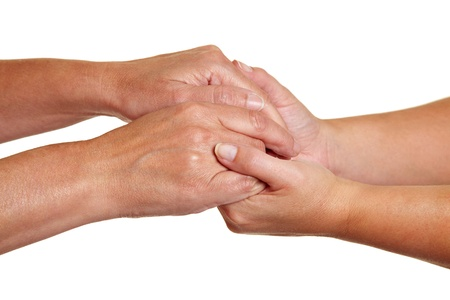 condolence: Hands expressing symbolic sympathies while holding each other Stock Photo