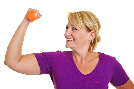 Woman doing fitness training with dumbbell exercises Stock Photo - 10585656