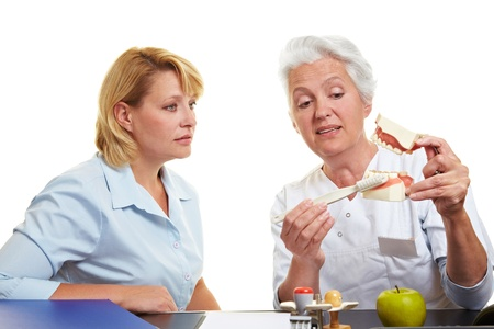 Dentist explaing tooth care on a teeth model photo