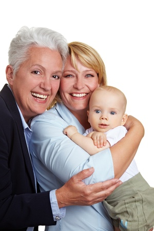 Family baby portrait with happy mother and grandmother photo
