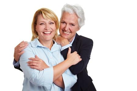 senior women: Portrait of two happy smiling senior women Stock Photo