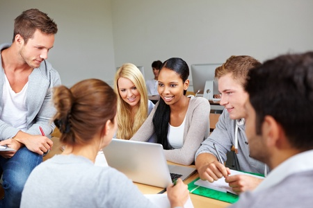 Students in study group in class at university photo