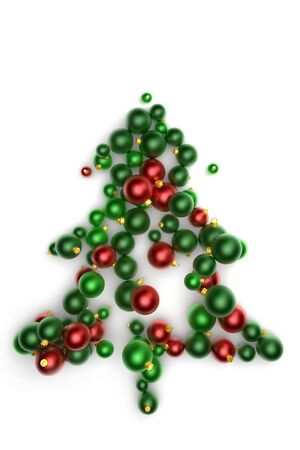 Abstract green christmas tree made of many christmas tree balls Stock Photo - 10875267