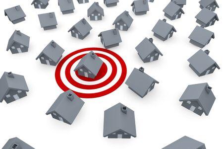 property insurance: Casa en la peque�a ciudad en un objetivo rojo Foto de archivo