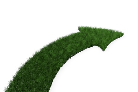 bending forward: Grass arrow with curve turning to the right Stock Photo