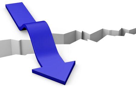 earthquake crack: Blue arrow moving over a deep gap