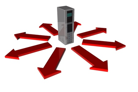 Server with red arrows pointing away from computer photo