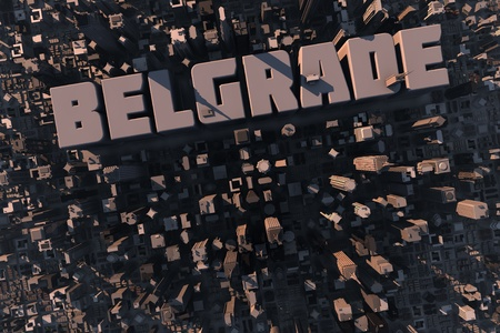 large office: Top view of urban city in 3D with skyscrapers, buildings and name Belgrade Stock Photo