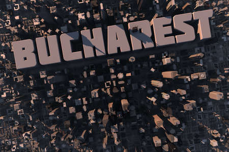 Top view of urban city in 3D with skyscrapers, buildings and name Bucharest photo