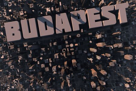 Top view of urban city in 3D with skyscrapers, buildings and name Budapest photo