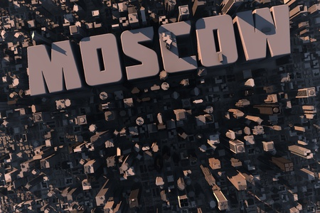 Top view of urban city in 3D with skyscrapers, buildings and name Moscow photo