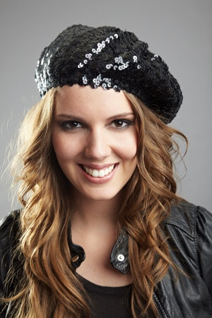 basque woman: Young attractive smiling woman with basque cap Stock Photo