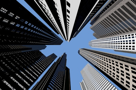 Many different skycrapers from below with blue sky photo