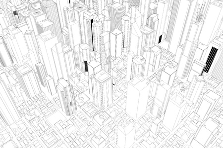 urban planning: Architectural drawing of city with skycrapers from above Stock Photo