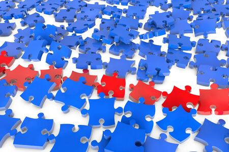 Many flying jigsaw puzzle pieces in 3D in red and blue photo
