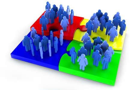 Groups of people standing on different jigsaw puzzle pieces photo