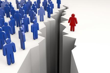 salaires: Gender Gap avec des hommes d'un c�t� de l'ab�me et la femme de l'autre Banque d'images
