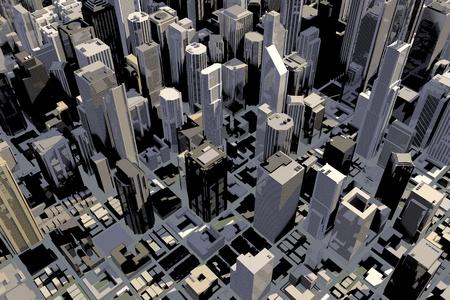 3D에있는 많은 건물과 큰 도시의 시내 지역