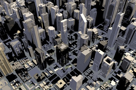 Downtown area of big city with many buildings in 3D photo
