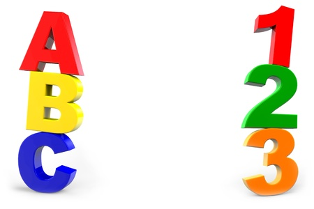 kindergarten toys: ABC and 123 lessons in preschool with numbers and letters Stock Photo