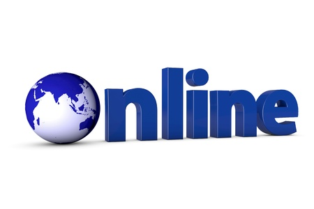 3D letters forming the word Online with a blue globe Stock Photo - 11638361