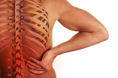 dolor de espalda: Mano que sostiene la cadera con la columna vertebral visible y el centro del dolor de espalda Foto de archivo