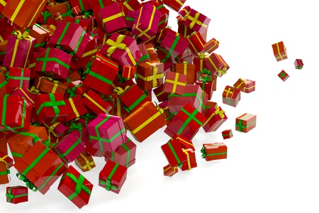 Avalanche of many different red christmas gifts in 3D photo