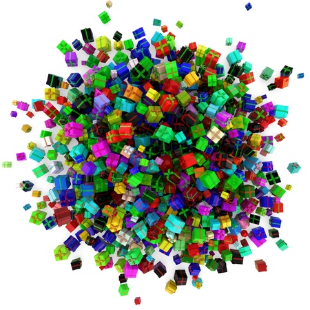 abundance: Colorful heap of many different birthday gifts in 3D