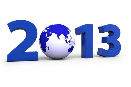 Year 2013 with a blue world globe instead of a Zero photo