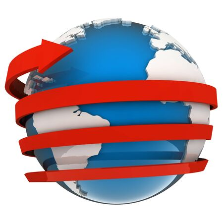 wordwide: Red arrow flying around a blue globe in 3D Stock Photo