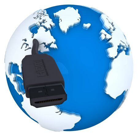 Blue 3D globe with a HDMI cable Stock Photo - 12108591