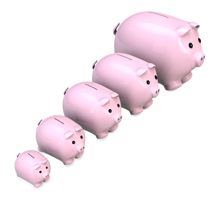 cheaper: Five pink piggy banks with different sizes in a row