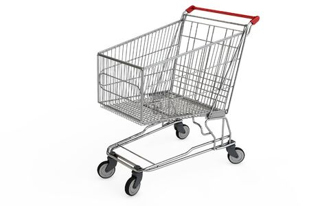 empty shopping cart: Empty shopping cart in 3D isolated on white background