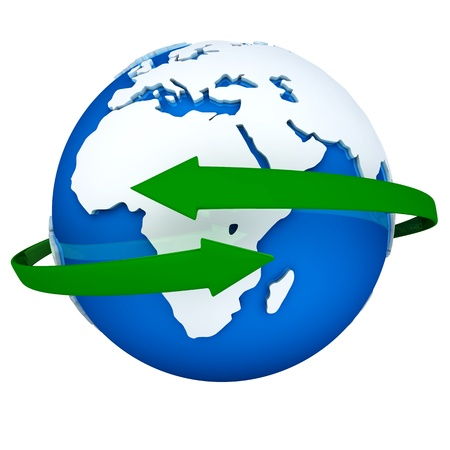 Two green arrows turning around a blue globe Stock Photo - 12108802