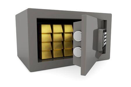 Many gold bullion bars in a small safe photo