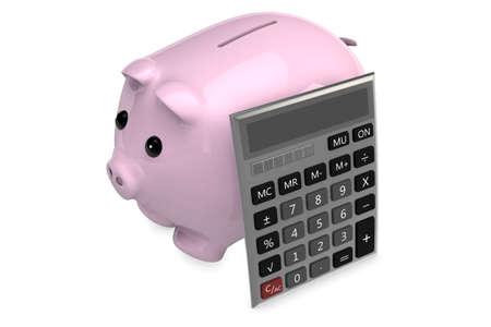 cheaper: 3D Calculator leaning on a pink piggy bank