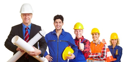 Team of an architect and construction workers working together photo