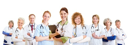 Staff team of many doctors and different happy nurses smiling Imagens
