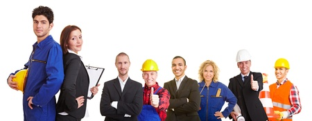 and white collar workers: Business and construction team group with workers, architects and engineers
