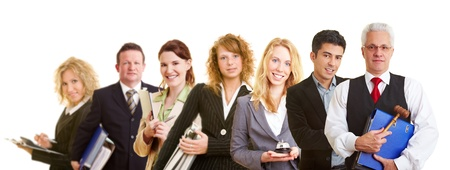 advocate: Group team with many different happy business people