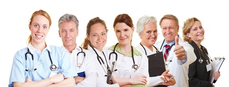 Medical nursing team with doctors, nurses and caregivers Stock Photo