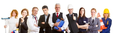 professions: Many different occupations standing as a team group Stock Photo